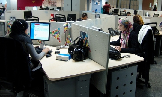Un centre d'appel Vodafone International au Caire. (Photo Nina Hubinet)