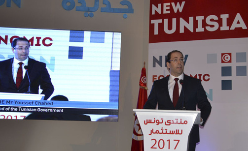 Youssef Chahed, ici lors de son intervention au Tunisia Investment Forum, doit faire face au mécontentement des Tunisiens (photo : F.Dubessy)