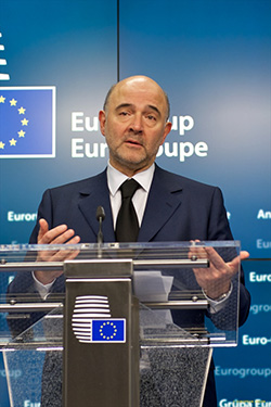 Le commissaire Pierre Moscovici tente d'arrondir les angles à Rome (photo : UE)