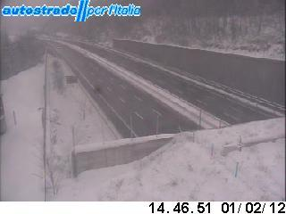 L'autoroute A1 entre Milan et Naples sous la neige (photo webcam Autostrade)