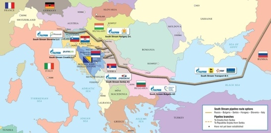 La Russie financera le tronçon serbe de South Stream (carte South Stream)