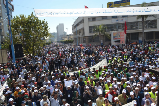 Manifestation au Maroc (photo Archives UMT)