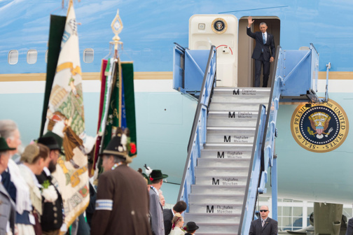 Arrivée de Barack Obama au G7 (photo Bundesrigerung/Widmann)