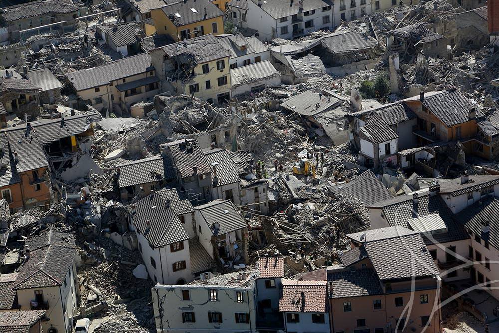 Le village d'Amatrice a été le plus touché (photo Protection civile)