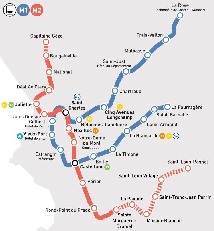 Les extensions du métro de Marseille (document : Pdu)