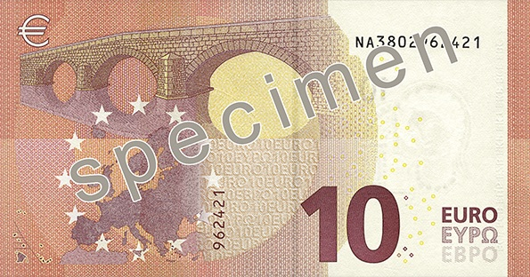 Verson du futur billet de 10€ (photo BCE)