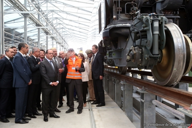 François Hollande et Mohammed VI inaugurent le centre de maintenance commun entre l'ONCF et la SNCF (photo Elysée)