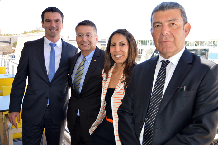 Amal Louis, NAF line manager at Marfret and chairwoman of the AACN, with committee members Gaël Keradennec, director of CMA CGM Agency, Marseille, Jacques Barra, Marseille branch director at MSC and Tan Aktuna, director of Worms S.M. Photo: econostrum